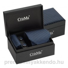 Kék kockás selyem nyakkendő-szett