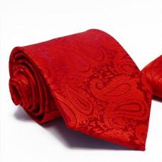 Anyagában virágmintás, sötét piros nyakkendő díszzsebkendővel