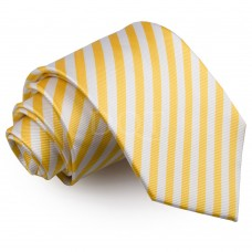 Csíkos nyakkendő - fehér/sárga