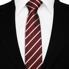 Keskeny nyakkendő - burgundi/ezüst
