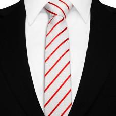 Keskeny nyakkendő - fehér/piros