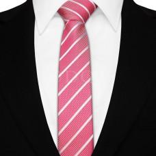Keskeny nyakkendő - pink/fehér