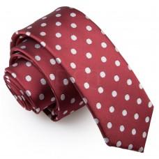 Keskeny, burgundi vörös nyakkendő - pöttyös