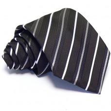 Sötétlila nyakkendő - fehér csíkos
