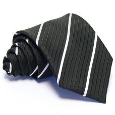 Fekete nyakkendő - fehér csíkos