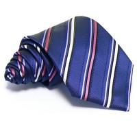 Sötétkék nyakkendő - rózsaszín-fehér csíkos