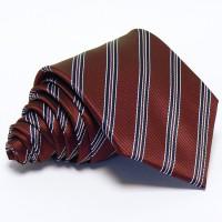 Burgundi vörös nyakkendő - fekete-fehér csíkos