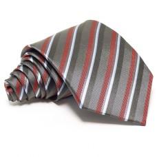 Grafitszürke selyem nyakkendő - burgundi csíkos