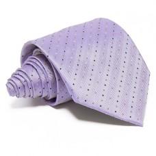 Ezüst, anyagában csíkos selyem nyakkendő - pöttyös